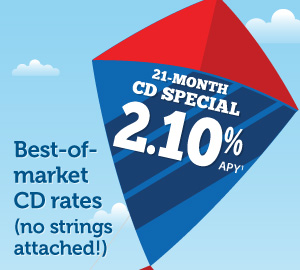 Best-of-market CD rates (no strings attached!): 21-month, 2.10% APY (1): $25,000 minimum deposit