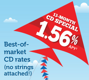 Best-of-market CD rates (no strings attached!): 13-month, 1.56% APY (1): $5,000 minimum deposit