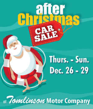 After Christmas Car Sale: Thurs. - Sun. Dec. 26-29 at Tomlinson Motor Company